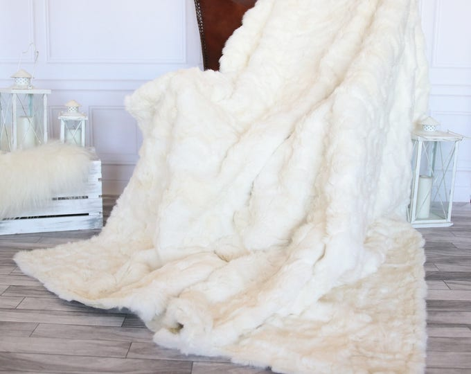 Exclusive Real White Rabbit Throw, Rabbit Fur, Super Soft Rabbit Throw