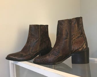 vintage snake skin leather booties  size 6 1/2