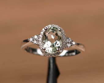 genuine natural green amethyst ring oval cut promise anniversary ring solid sterling silver ring gemstone ring