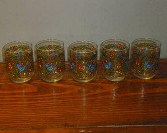Corning Country Festival Friendship Bluebird set of 5 Libbey Juicer Glasses 1975