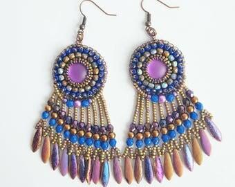 Purple earrings, bronze earrings, long earrings, fringe earrings, boho earrings, statement earrings, birthday gift, gipsy earrings.