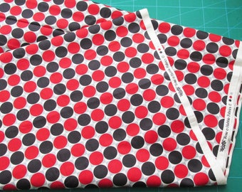 Black, Red & Grey Spots Fabric by the Metre, Rose and Hubble