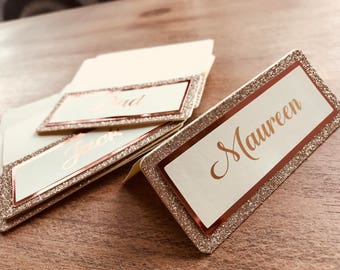 Wedding place cards glitter and foil rose gold