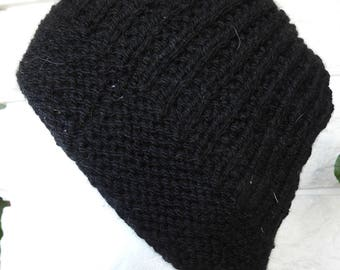 Hand Knitted Men's Beanie Style Ribbed Winter Hat - Free Shipping
