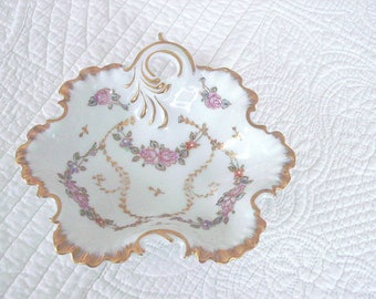 Heavy Gold Accented Floral Porcelain Trinket Dish or Ring Dish