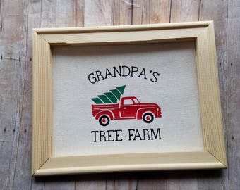Grandpa's Tree Farm Canvas Frame - Home Decor - Unique One Of A Kind Canvas Print With Frame - Only One Made - Vintage Red Truck Decor