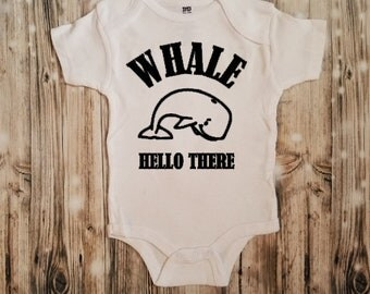 Whale Hello There Newborn Bodysuit - Whale Newborn Clothing - Ocean Lover's Baby Announcement - Fisherman's Baby Announcement