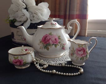 SOLD TO ELOISE.....Do not buy......Royal Albert large teapot, sugar and creamer. American Beauty .First quality .