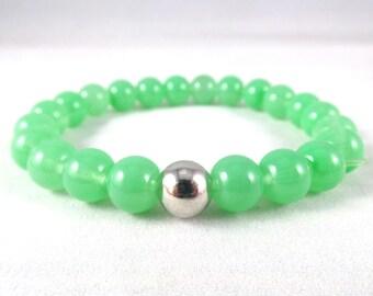 Light Green Bracelet, Sea Green Glass Bracelet, Green and Silver Bracelet, Minimalist Bracelet, Glass Beaded Elastic Bracelet, Gift For Her