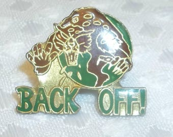 BACK OFF!  Enamel Pin for Trucker Cap, Tiger Cat Lapel Pin, Snapback Cap Pin, Outlaw Country,  US Army, Military Pin, Airborne Rangers