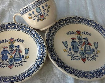 Staffordshire hearts and flowers  plate cup and saucer set by Johnson brothers vintage