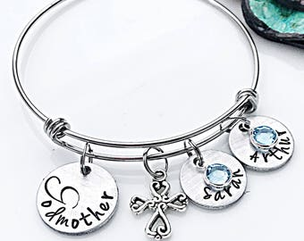 Personalized Godmother Bracelet, Stamped Godmother Gift, Handstamped Bracelet, Godmother Bangle, Christening Gift, Will You Be My Godmother