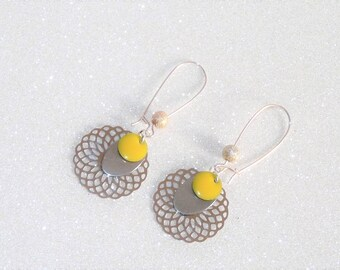 Earrings ' sleepers earrings Silver earrings with filigree rose and yellow sequin