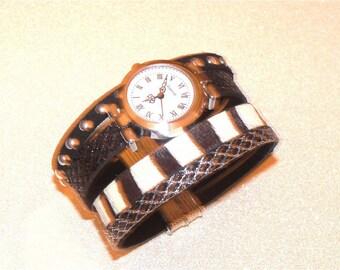 Black glitter Zebra magnetic leather cuff watch