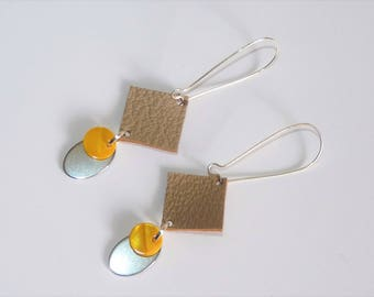Earrings ' Silver earrings 925 with beige leather, yellow and silver sequin