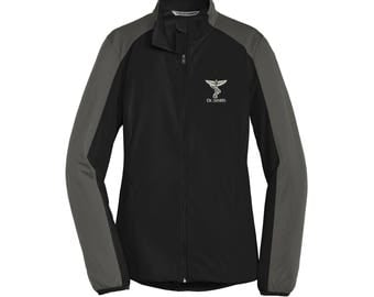 Chiropractor Embroidered Ladies Active Colorblock Soft Shell Jacket.. Personalized Full Zip Jacket. Chiropractor Coat. L718