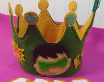 Crown headlight Verde-cumpleanos-fiesta-regalo-ninos-superheroes-corona Superheroes-flashlight Verde-Fiesta child-party