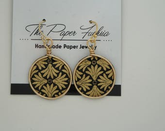Handmade paper jewelry--black and gold disc shaped earrings
