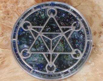 Deep Galaxy Crystal Archangel Metatron's Cube Orgone Energy Sacred Geometry Meditation 40mm Pendant Necklace Ormus Orgone Moldavite Meteor