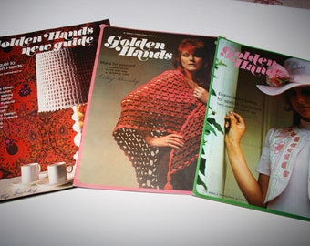 GOLDEN Hands CRAFT Magazine Books, SET of 3, crochet, stitchery, embroidery, weaving, needlepoint