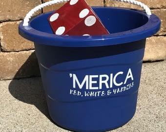 Personalized yardzee bucket - farkle bucket - backyard game bucket
