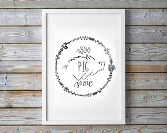 Arkansas Razorback Printable Floral Wreath - Woo Pig Sooie - Go Hogs - Dorm Decor - Calligraphy - Digital Art - Instant Download - College