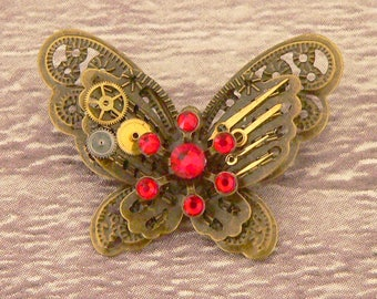 Red Steampunk Butterfly Brooch, Steampunk Brooch, Steampunk Pin, Butterfly Pin, Butterfly Jewellery, Steampunk Jewellery