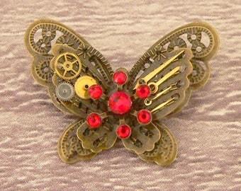 Red Steampunk Butterfly Brooch, Steampunk Brooch, Steampunk Pin, Butterfly Pin, Butterfly Jewellery, Steampunk Jewellery