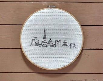 """Pattern """"PARIS"""" wooden embroidery hoop"""