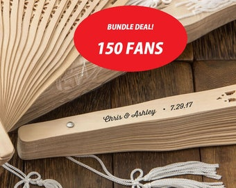Personalized Rustic Sandalwood Wedding Fans (Pack of 150) Wedding Favors