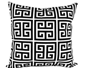 SALE Black Greek Key Decorative Pillows - Black Cream Pillow Cover - Towers Onyx Black Couch Pillow - Black Pillow - Geometric Pillow Cover