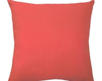 SALE Coral Pillows - Solid Coral Decorative Pillow Covers - Coral Cushion Covers - Coral Throw Pillows - Coral Pillow - Solid Coral Accent P