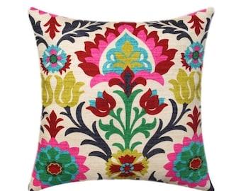 SALE Waverly Santa Maria Desert Flower Pillow Cover, Floral Throw Pillow, Hot Pink Accent Pillow, Red Black Turquoise Pillow Cover, Hidden Z
