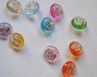 set of 6 fancy translucent 12 mm bow buttons