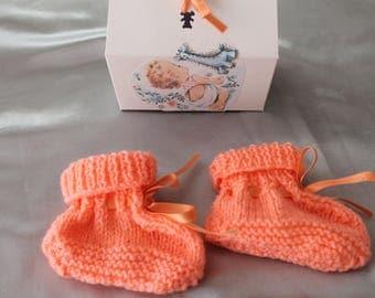 knitting, shoe, salmon, gift, baby, knitted handmade
