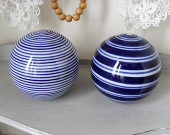 "Ceramic Balls PAIR 3"" Blue & White Decor Balls Vintage Ceramic Balls Vintage LAURA ASHLEY Decor Coastal Decor Classic Blue and White"