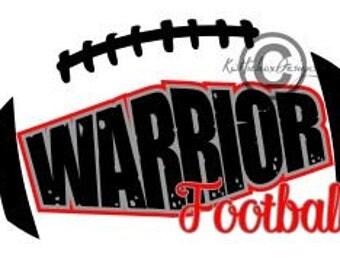 Warrior Football Svg, Distressed Football Svg, Warrior Svg, Dxf