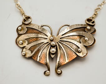 Sold - Available for Special Order - Butterfly Dancing Sterling Silver and Copper Necklace