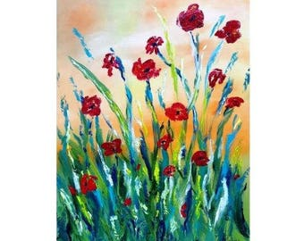 """Poppy art Poppy painting Red poppies Poppy décor Abstract flower painting Original oil painting Flower wall art Red flower painting 18x24"""""""