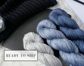 Silk gradient yarn set, hand dyed yarn, pure silk fingering, gradient yarn, silk yarn, handmade gift for her - Open Skies