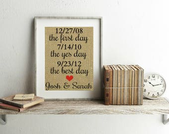 First Day Yes Day Best Day - Burlap Print - Special Dates Wall Art - Personalized Date - Important Dates - Wedding Date Sign - Custom Print