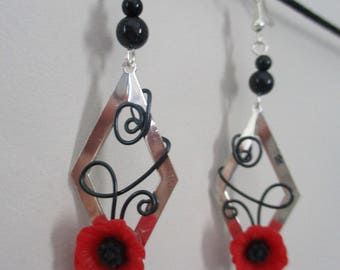 """Coraline"" poppy earrings, aluminum"