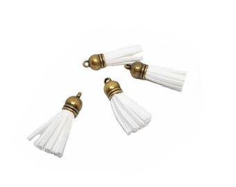 Small Tassels - 10 Pretty White Tassels with Bronze Caps - Decorative Tassels For Jewelry - Key Chain Tassel - White Mini Tassels - TC-B003