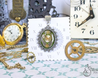 Green Steampunk Pendant - Necklace Jewelry Gift - Womens Steampunk