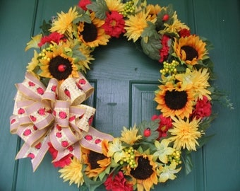 Ladybug Wreath, Sunflower Wreath, Sunflower Mum and Zinnia Wreath