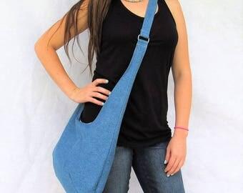 Denim Cross body Hobo Bag Purse, Adjustable Strap Over The Shoulder Bag, Beach Boho Hippie bag.