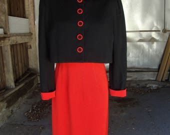 Vintage 1940's Red and Black Wool Gabardine Suit with Swing Back Jacket