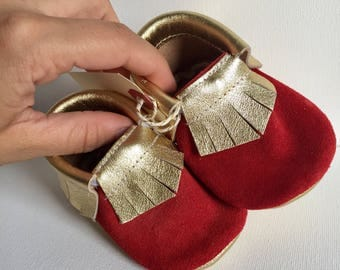 Size 2- Red/Gold Leather Moccasin (Ready to ship)