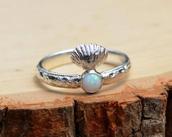 Shelly Opal Ring - Sterling Silver Seashell Stacking Ring