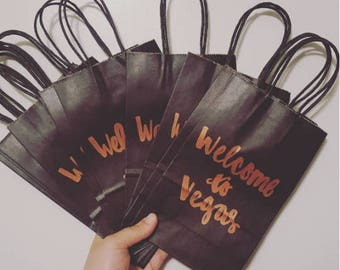 Welcome To Vegas Gift Bag - Handlettered Gift Bag - City Gift Bag - Bachelorette Party Gift Bag - Bachelor Party Gift Bag - Custom Gift Bag